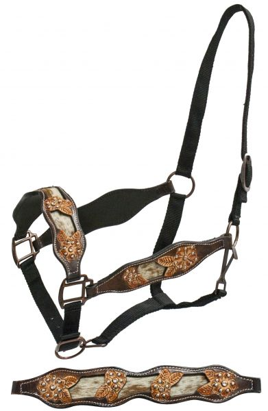 FULL SIZE belt style halter with hair-on cowhide inlay and cut out tooling- FULL SIZE belt style halter with hair-on cowhide inlay and cut out tooling