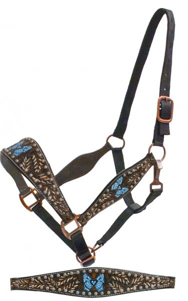 FULL SIZE belt style halter with painted tooling and blue painted butterfly