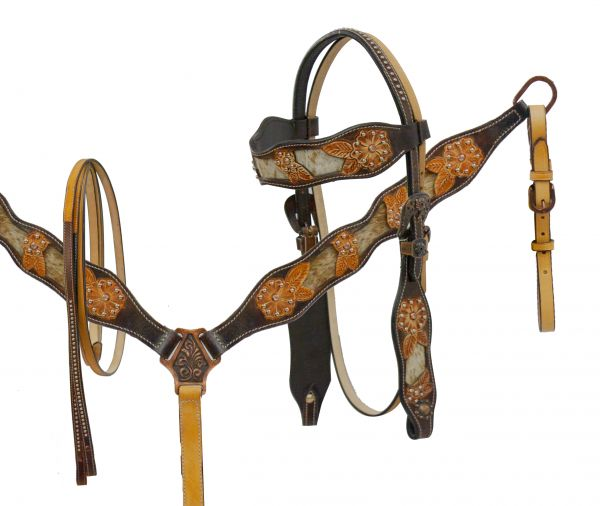 Hair-on cowhide inlay headstall and breast collar set with cut out tooling