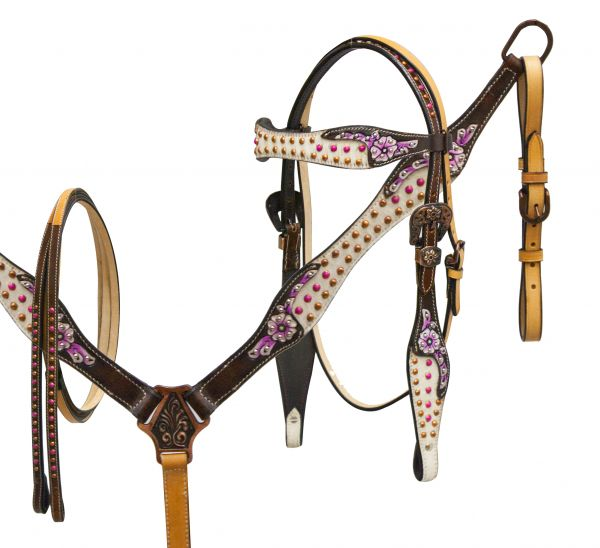 Headstall and breast collar set with painted floral tooling and hair on cowhide inlay- Headstall and breast collar set with painted floral tooling and hair on cowhide inlay