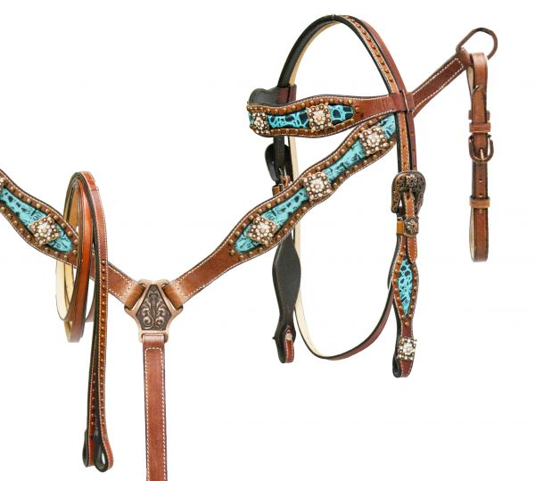Teal alligator print inlay headstall and breast collar set accented with crystal rhinestone conchos-Teal alligator print inlay headstall and breast collar set accented with crystal rhinestone conchos