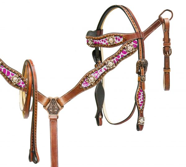 Pink alligator print inlay headstall and breast collar set accented with crystal rhinestone conchos