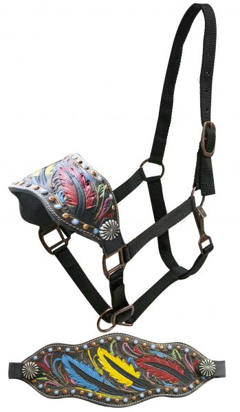 FULL SIZE Leather bronc halter with tooled, painted feathers