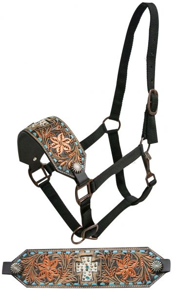 FULL SIZE Leather bronc halter with copper painted floral tooling and cut out cross
