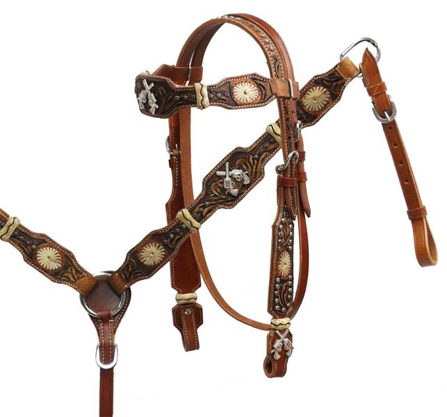Rawhide braided headstall and breast collar set with crossed guns conchos