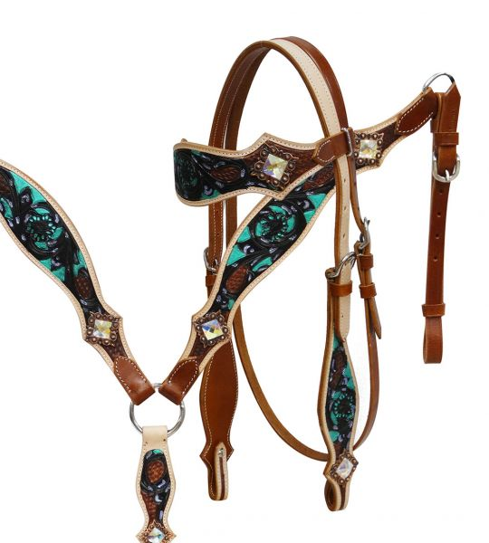 Hand painted headstall and breast collar set
