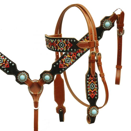 Navajo embroidered headstall and breast collar set