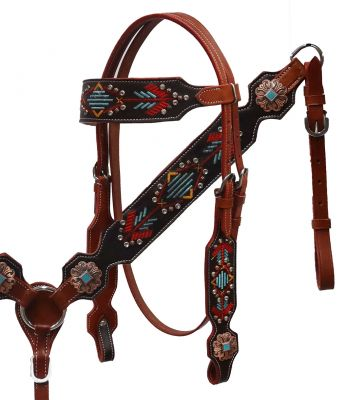 Navajo embroidered headstall and breast collar set- Navajo embroidered headstall and breast collar set