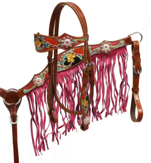 Pink fringe headstall and breast collar set-Pink fringe headstall and breast collar set