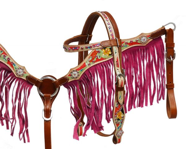 Pony/Small Horse size pink fringe headstall and breast collar set