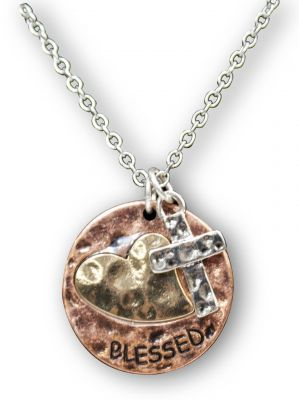 """Blessed"" Necklace With Engraved Heart"