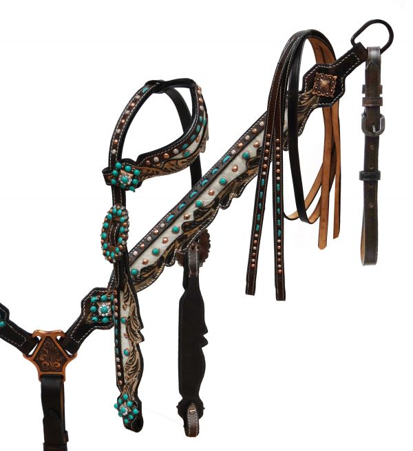 Hair on cowhide inlay headstall and breast collar
