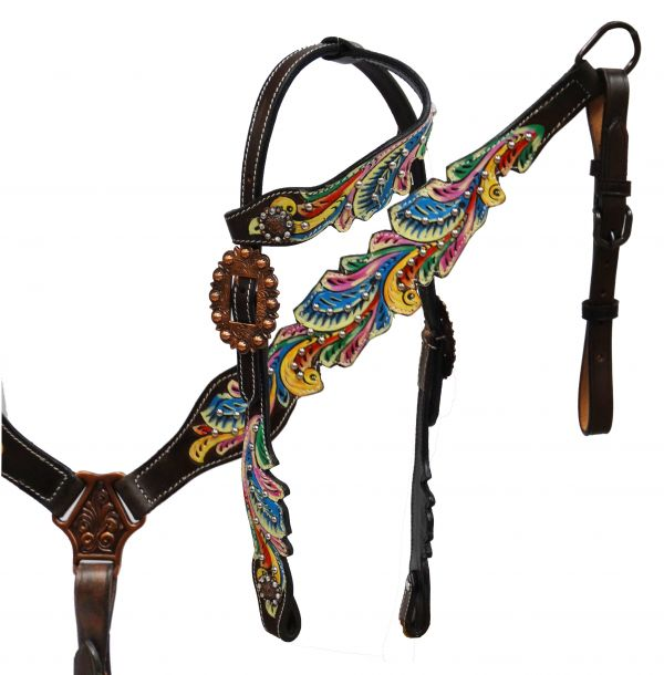 Painted filigree headstall and breast collar