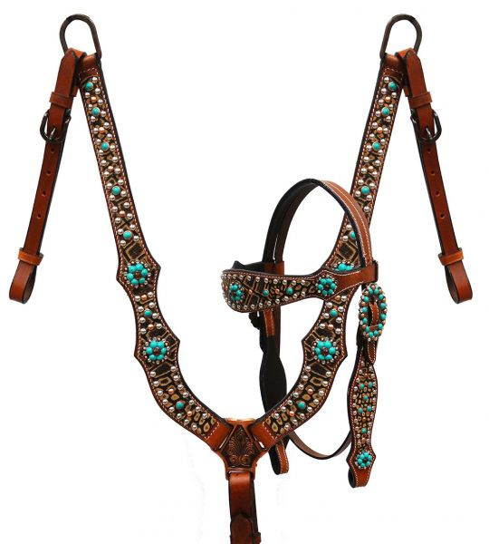Brown alligator print headstall and breast collar with teal candy stone conchos-Brown alligator print headstall and breast collar with teal candy stone conchos