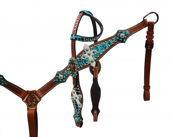 Teal alligator print headstall and breast collar set.-Teal alligator print headstall and breast collar set.