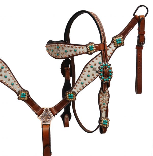 Hair on cowhide headstall and breast collar set- Hair on cowhide headstall and breast collar set
