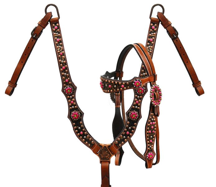 Copper alligator print headstall and breast collar with pink candy stone conchos