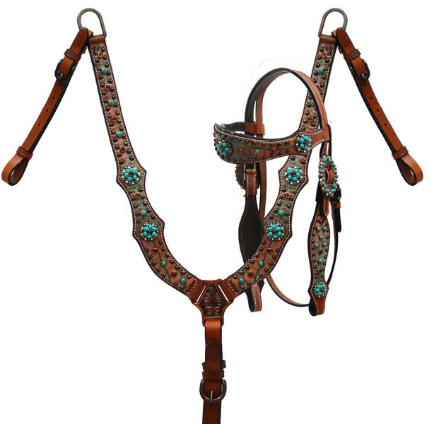 Brown and teal alligator print headstall and breast collar- Brown and teal alligator print headstall and breast collar