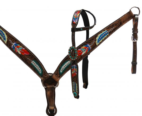 Painted feather single ear headstall and breast collar set- Painted feather single ear headstall and breast collar set