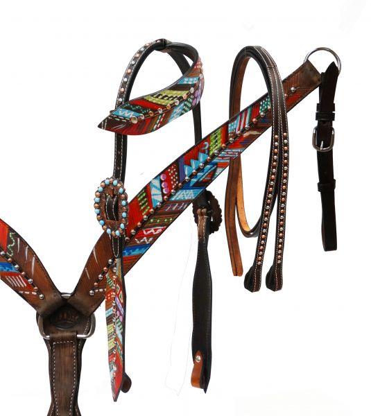 Painted feather headstall and breast collar set-Painted feather headstall and breast collar set