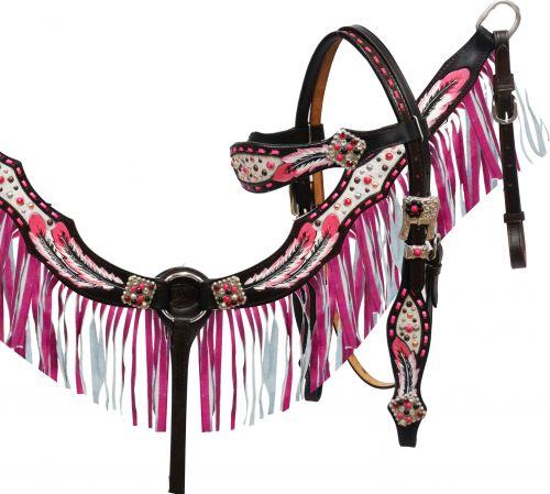 hand painted feather headstall and breast collar set with pink leather fringe