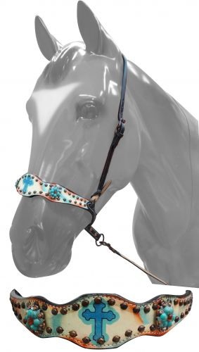 hand painted noseband with Celtic cross-hand painted noseband with Celtic cross