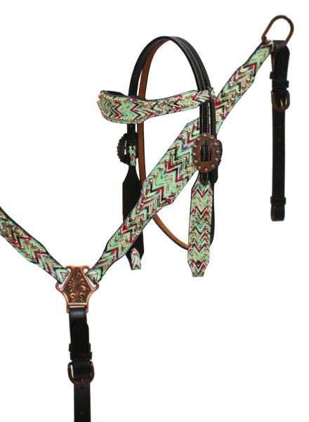 Chevron print headstall and breast collar set