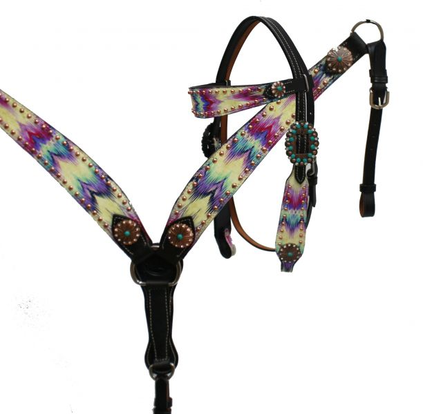 Brushed chevron print headstall and breast collar set