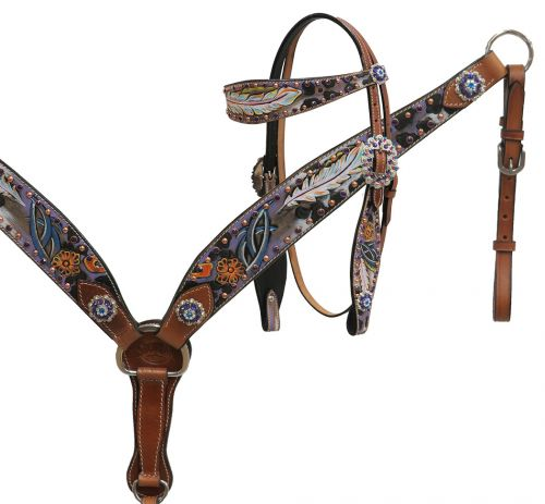 Gypsy feather painted headstall and breast collar set