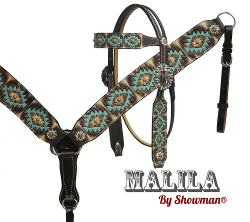 """Malila"" headstall and breast collar set with Navajo diamond design"