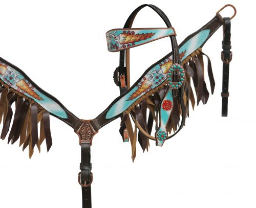 Guns and Roses headstall and breast collar set with leather fringe- Guns and Roses headstall and breast collar set with leather fringe