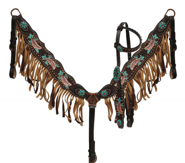 Painted feather headstall and breast collar set