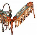 Hand Painted Dream Catcher browband headstall and breast collar set with fringe