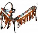 """It's Fall Y'all"" chocolate leather headstall and breast collar set with painted fall design"