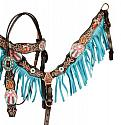 Painted Cross browband headstall and breast collar set