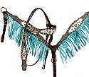 Hair on Cowhide browband headstall and breast collar set