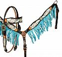Painted browband headstall and breast collar set w/ cowhide inlays