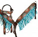Painted Mandala browband headstall and breast collar set