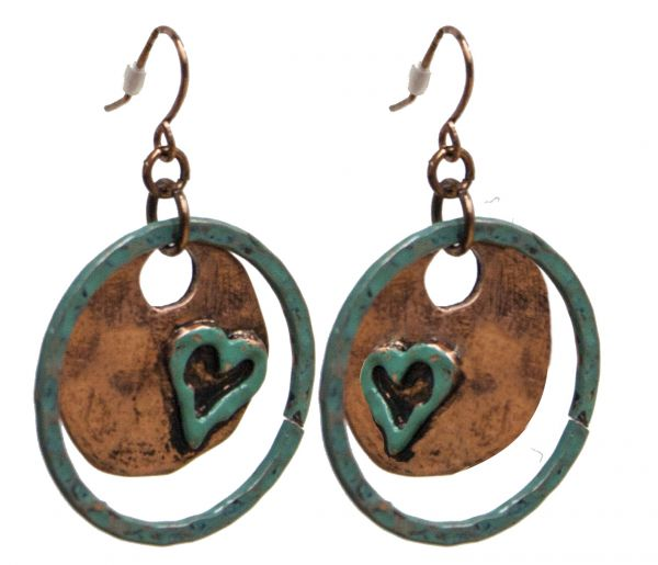 Earrings with turquoise hoop and copper plate with turquoise heart