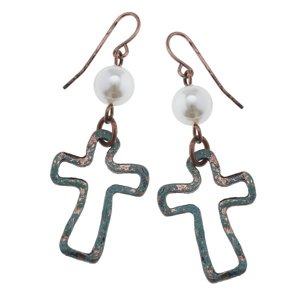 Hand painted patina open cross earrings