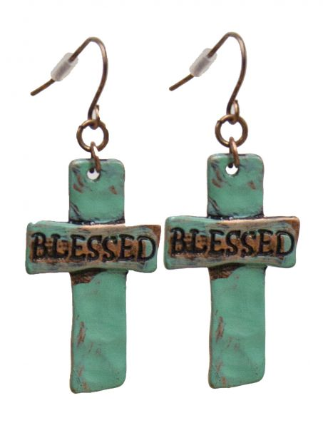 "Turquoise cross earrings with "" Blessed""."