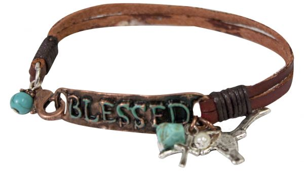 "Double strand leather bracelet with "" Blessed"" copper plate and accented with western charms"