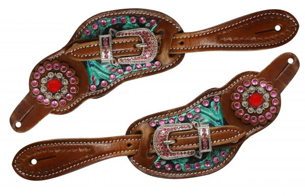 Ladies size floral tooled spur straps with metallic paint and pink crystals