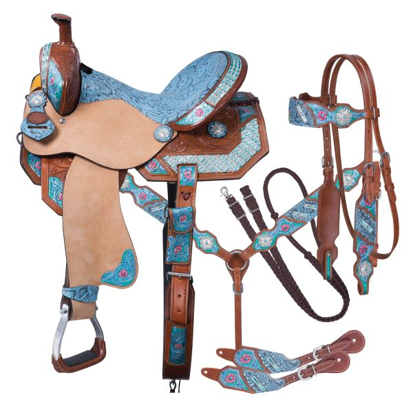 Silver Royal Macaelah Barrel 5 Piece Saddle Package-Silver Royal Macaelah Barrel 5 Piece Saddle Package