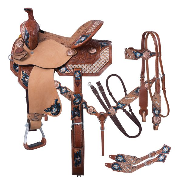 Silver Royal Savannah Barrel 5 Piece Saddle Package-Silver Royal Savannah Barrel 5 Piece Saddle Package