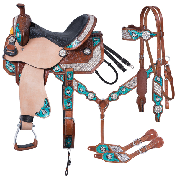 Silver Royal Ashton Barrel 5 Piece Saddle Package-Silver Royal Ashton Barrel 5 Piece Saddle Package