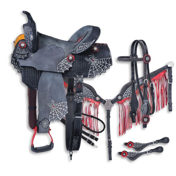 Silver Royal Black Widow Collection 5 Piece Saddle Package-Silver Roayl Black Widow Collection 5 Piece Saddle Package