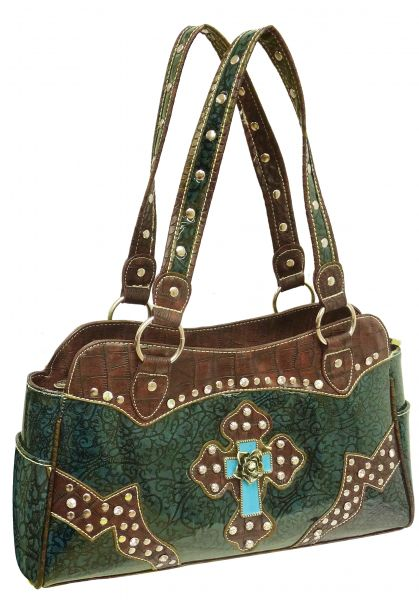 Teal filigree leather puse with brown gator print trim-Teal filigree leather puse with brown gator print trim