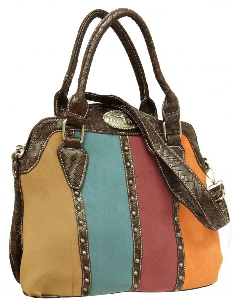 leather purse with colored suede style leather