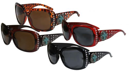 Ladies Bling Sunglasses with Engraved Oval Conchos Accented with Turquoise Cross